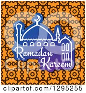 Clipart Of A Mosque With Ramadan Kareem Text Over A Pattern Royalty Free Vector Illustration