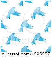 Clipart Of A Seamless Background Of Flying Blue Geometric Birds Royalty Free Vector Illustration by Vector Tradition SM