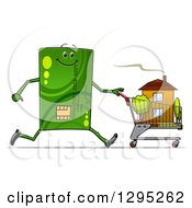 Clipart Of A Cartoon Green Credit Card Character Pushing A House In A Shopping Cart Royalty Free Vector Illustration by Vector Tradition SM