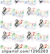 Clipart Of A Seamless Background Pattern Of Colorful Staffs And Music Notes Royalty Free Vector Illustration