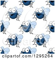 Clipart Of A Seamless Background Pattern Of Happy Cartoon Flies Royalty Free Vector Illustration