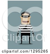 Clipart Of A Flat Design Of An Armed Robber Royalty Free Vector Illustration