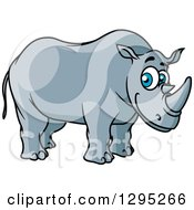 Clipart Of A Cartoon Happy Blue Eyed Rhino Royalty Free Vector Illustration by Seamartini Graphics