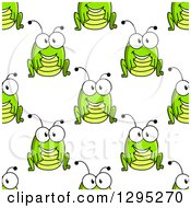 Clipart Of A Seamless Background Pattern Of Cartoon Happy Crickets Or Grasshoppers Royalty Free Vector Illustration