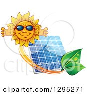 Clipart Of A Welcoming Happy Sun Wearing Shades Over A Solar Panel Encircled With An Orange Swoosh And Green Leaves Royalty Free Vector Illustration