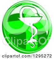 Clipart Of A 3d Round Lime Green Cross And Silhouetted Snake And Cup Medical Caduceus Icon Button Royalty Free Vector Illustration