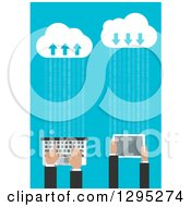 Clipart Of A Flat Design Of Business Hands Using A Tablet And Computer Connected To The Cloud Royalty Free Vector Illustration