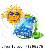 Clipart Of A Welcoming Happy Sun Wearing Shades Over A Solar Panel Encircled With A Green Leaf Vine Royalty Free Vector Illustration by Vector Tradition SM