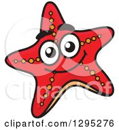 Clipart Of A Cartoon Happy Red Starfish Royalty Free Vector Illustration