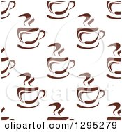 Clipart Of A Seamless Background Pattern Of Steamy Brown Coffee Cups 4 Royalty Free Vector Illustration