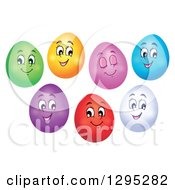 Clipart Of Happy Colorful Easter Egg Characters Royalty Free Vector Illustration