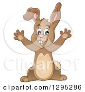 Clipart Of A Happy Brown Bunny Rabbit Cheering Royalty Free Vector Illustration