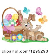Clipart Of A Happy Brown Easter Bunny Rabbit Resting Against A Basket Of Eggs With Butterflies Royalty Free Vector Illustration