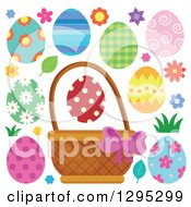 Clipart Of A Basket Easter Eggs Flowers And Grass Royalty Free Vector Illustration