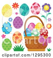 Clipart Of A Basket Patterned Easter Eggs Flowers And Grass Royalty Free Vector Illustration