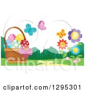 Clipart Of A Basket Of Easter Eggs With Butterflies And Flowers In A Spring Landscape Royalty Free Vector Illustration