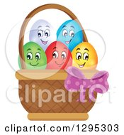 Clipart Of A Basket Of Happy Easter Eggs Royalty Free Vector Illustration