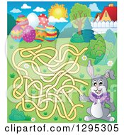 Clipart Of A Maze Of An Easter Bunny Rabbit Trying To Get To Eggs Royalty Free Vector Illustration by visekart