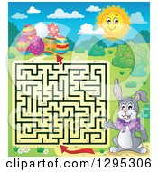 Clipart Of A Easter Maze Of A Rabbit Trying To Get To Eggs Royalty Free Vector Illustration by visekart