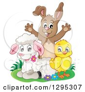 Clipart Of A Happy Brown Bunny Rabbit Cheering Behind A Spring Lamb And Chick Royalty Free Vector Illustration by visekart