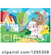 Clipart Of A Happy Brown Bunny Cheering Behind A Spring Lamb And Chick In A Meadow Royalty Free Vector Illustration