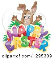 Clipart Of A Brown Bunny Rabbit Popping Out Behind A Happy Easter Greeting Royalty Free Vector Illustration