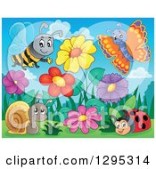 Clipart Of A Spring Flower Garden With A Cartoon Happy Bee Butterfly Ladybug And Snail Royalty Free Vector Illustration by visekart
