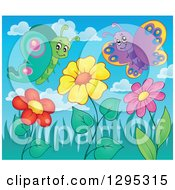 Clipart Of A Spring Flower Garden With Cartoon Happy Butterflies Royalty Free Vector Illustration