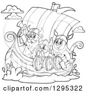 Clipart Of Black And White Lineart Cartoon Vikings Ready For Battle In A Ship Royalty Free Vector Illustration