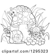 Clipart Of A Happy Lineart Black And White Cartoon Caterpillar Snail And Spider By A Mushroom And Flowers Royalty Free Vector Illustration by visekart