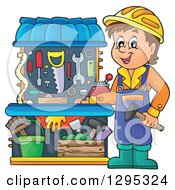 Clipart Of A Happy Brunette White Boy Playing With A Carpenter Tool Set Royalty Free Vector Illustration
