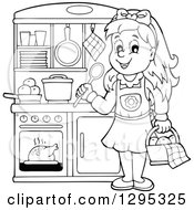 Clipart Of A Lineart Black And White Happy Girl Playing In A Pretend Kitchen Set Up Royalty Free Vector Illustration by visekart