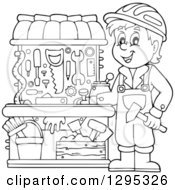 Clipart Of A Happy Lineart Black And White Boy Playing With A Carpenter Tool Set Royalty Free Vector Illustration by visekart