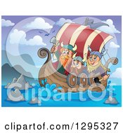 Clipart Of Viking Men Ready For Battle In A Ship At Sea Royalty Free Vector Illustration