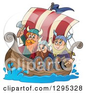 Clipart Of Cartoon Vikings Ready For Battle In A Ship Royalty Free Vector Illustration