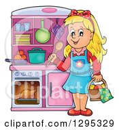 Clipart Of A Happy Blond White Girl Playing In A Pretend Kitchen Set Up Royalty Free Vector Illustration by visekart