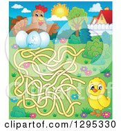 Clipart Of A Spring Maze Of A Chick Trying To Get To A Hen And Eggs Royalty Free Vector Illustration by visekart