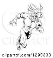 Black And White Muscular Aggressive Dragon Man Mascot Sprinting