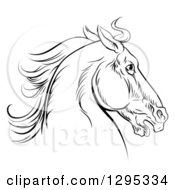Clipart Of A Black Engraved Horse Head Facing Right Royalty Free Vector Illustration