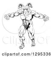 Clipart Of A Black And White Muscular Angry Ram With Claws Bared Royalty Free Vector Illustration