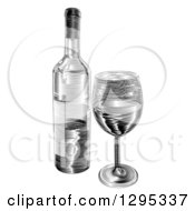 Clipart Of A Black And White Engraved Wine Bottle And Glass Royalty Free Vector Illustration