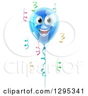 Clipart Of A 3d Blue Smiling Happy Birthday Balloon Character And Colorful Ribbon Confetti Royalty Free Vector Illustration