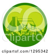Clipart Of A Green Country Cottage House In A Circle Royalty Free Vector Illustration