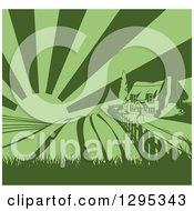 Clipart Of A Green Cottage Farmhouse Atop A Hill With Fields At Sunrise Royalty Free Vector Illustration by AtStockIllustration