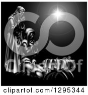 Clipart Of A Grayscale 3d Mary And Joseph Praying Over Baby Jesus And The Star Of Bethlehem Royalty Free Vector Illustration by AtStockIllustration