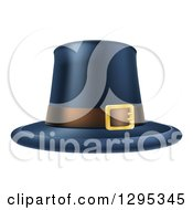 Clipart Of A Black Thanksgiving Pilgrim Hat With A Belt Royalty Free Vector Illustration by AtStockIllustration