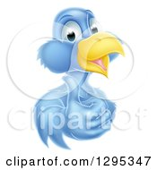 Clipart Of A Pleased Blue Bird Character Giving A Thumb Up Royalty Free Vector Illustration by AtStockIllustration