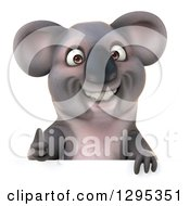 Clipart Of A 3d Happy Koala Giving A Thumb Up Over A Sign Royalty Free Illustration