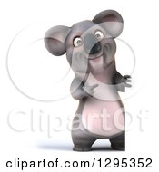Clipart Of A 3d Full Length Happy Koala Pointing Around A Sign Royalty Free Illustration