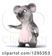 Clipart Of A 3d Happy Koala Pointing To The Left Royalty Free Illustration